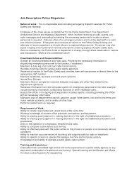 Resume Job Duties Examples Pretentious Idea Dispatcher Resume 1 Dispatcher Resume Driver