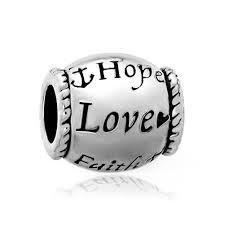 chamilia halloween beads hope love faith silver tone barrel bead designer charm bracelet
