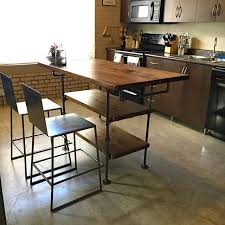 Wooden Kitchen Island Table Industrial Pipe And Wood Kitchen Island Steel And Wood