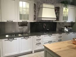 Kitchen Wallpaper Backsplash Frosted Glass Cabinets Door White Island With Wooden Countertop