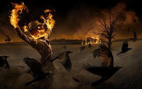 halloween background of wich halloween monsters pumpkin head fire on a broom image