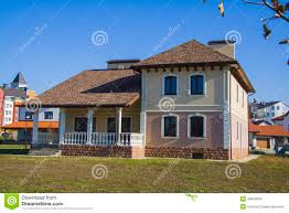 newly built alpine house in german village stock photo image