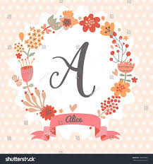 Card Invitation Personalized Monogram Vintage Colors Stylish Letter Stock Vector