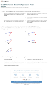 Addition Worksheets Pdf Quiz U0026 Worksheet Geometric Approach To Vector Addition Study Com