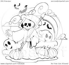 halloween ghost clipart black and white clipart outlined grim reaper and ghosts with halloween pumpkins
