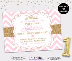 1st birthday princess invitation princess birthday invitation pink gold chevron pattern gold