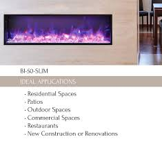50 Electric Fireplace by Bi 50 Slim Electric Fireplace Indoor Outdoor Sierra Flame