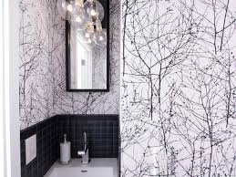 Powder Room In French Black And White Powder Room With Bold Wallpaper Tree Patterned