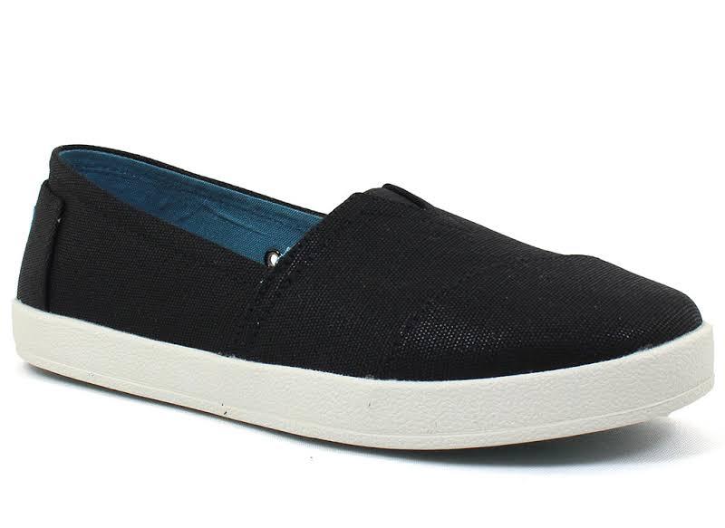 Toms Avalon Slipon Canvas Black Ankle-High Slip-On Shoes 10M