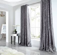 sicily curtains luxury faux silk silver grey embroidered lined