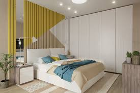 cool bedroom designs which use slats for accent wall decor ideas white and yellow slats wall