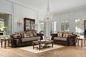 Sofa With Wood Trim by 2 Pc Thales Collection Brown Fabric Sofa And Love Seat Set With
