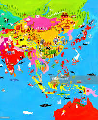 Map Of Asia by Map Of Asia With Asian Culture And Wildlife Stock Illustration