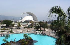 Cesar Manrique Water Park and the Auditorium in the background.