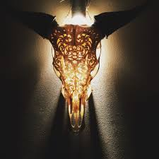 brand new hand carved engraved cow skull horns home decor styling