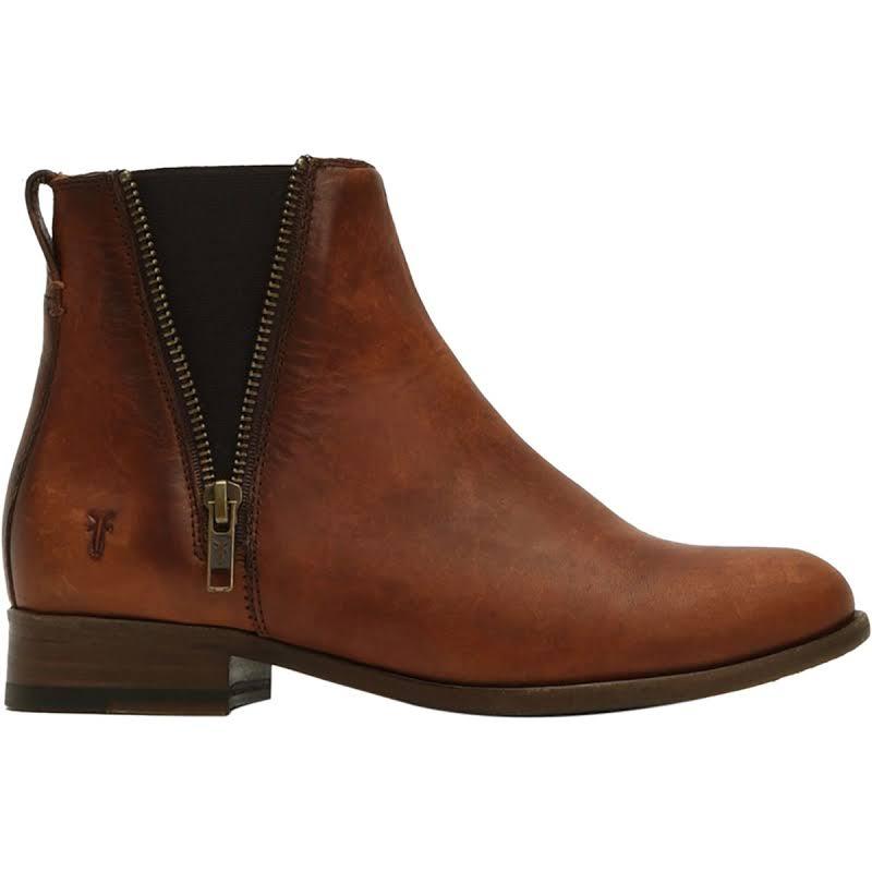 Frye Carly Zip Chelsea Boots Cognac Medium 10 3471364-COG-10