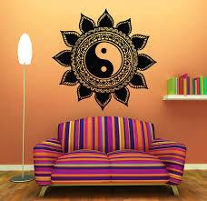 Indian Flower Design Mandala Wall Decals Indian Floral Design Sun Flower Decal Yin