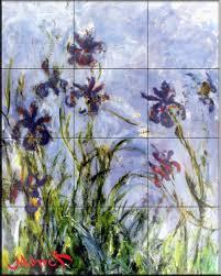 ceramic tile mural irises by claude monet kitchen backsplash