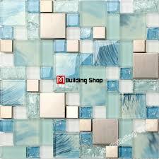 Blue Backsplash Kitchen Blue Glass Mosaic Kitchen Wall Tile Ssmt306 Stainless Steel Metal
