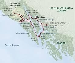 Juneau Alaska Map by Glacier Bay Small Ship Cruise Uncruise Adventures