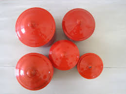 Kitchen Canisters Red Vintage French Red Enamel Set Of 5 Kitchen Canisters C1950