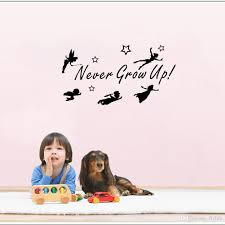 never grow up quotes wall sticker tinker bell wall decals fairy