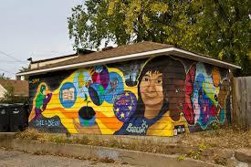 Minneapolis      Minneapolis    Mural at      E    th Street  a collaboration of Bancroft School and El Colegio