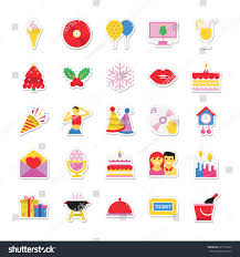christmas party celebration colored vector icons stock vector