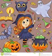 cute cartoon halloween seamless pattern stock vector image 50531287