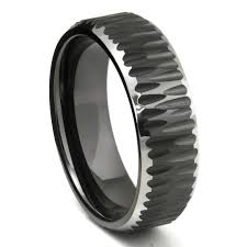 jewelry rings black tungsten carbide hammer finish beveled wedding