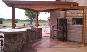exciting rectangle shape brown color wooden pergola features stone
