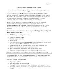 sample reflection paper format