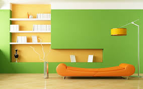 green wall and orange furniture interior home hd wallpapers rocks