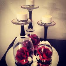 Black Blue And Silver Table Settings We Could Paint The Stems Black With The Candles Be Red And The