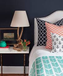 Navy Blue Wall Bedroom Navy Blue Nautical Themed Boys Bedroom Ideas With Anchor Pattern
