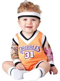 in this double dribble basketball player costume for toddlers