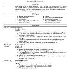 Example Server Resume by Server Resume Examples Resume Cv Cover Letter