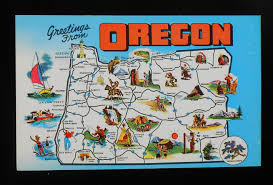 Bandon Oregon Map by 1960s State Map Of Oregon Landmarks Icons Or Postcard Ebay