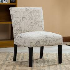 Contemporary Chairs For Living Room by Roundhill Botticelli English Letter Print Fabric Armless