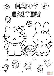 hello kitty with easter bunny coloring page free printable
