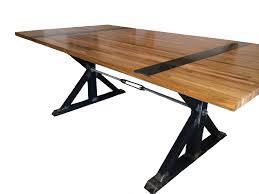 large trestle dining table with glossy butcher block top idea of