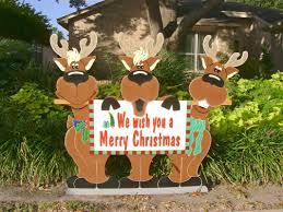 Christmas Yard Decoration Images Reindeer Trio Yard Sign Christmas Holiday Yard Sign Holiday