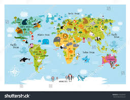 Map Of The South America by Vector Map World Cartoon Animals Kids Stock Vector 552625663