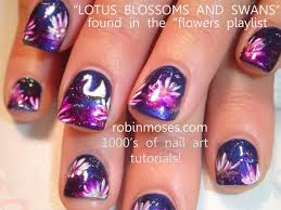 lotus and swans nail art flower nails design tutorial youtube
