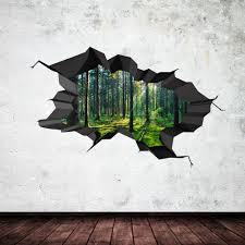 3d wall art stickers inarace net full colour woods forest trees jungle cracked 3d wall art sticker