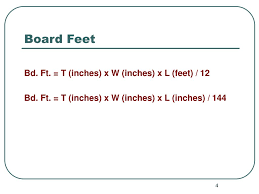 Square Feet Calc by Ppt Calculating Board Feet Linear Feet Square Feet Powerpoint
