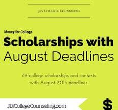 images about College Scholarships on Pinterest   College     JLV College Counseling Blog   Scholarships with August      deadlines      college scholarships and contest