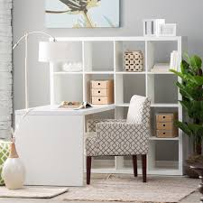 White Bookcase With Drawers by Hudson 16 Cube Shelf With Desk White Hayneedle