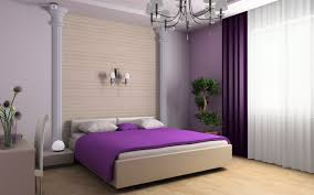 modern bedroom in shades of purple and lavender widescreen