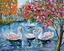 how to paint swan lake